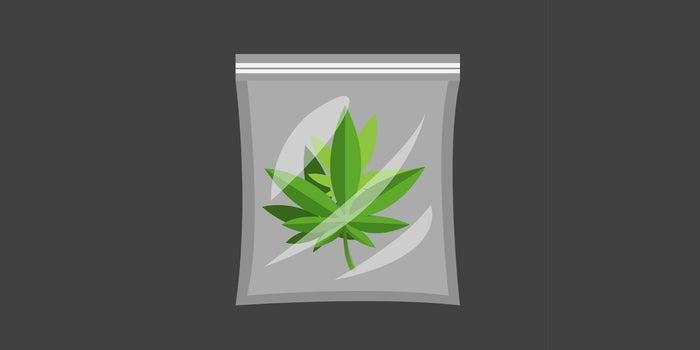 a plastic bag with a cannabis icon on it
