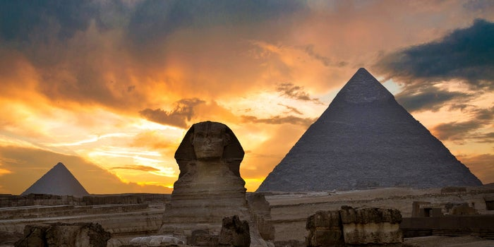 Egyptian pyramids in the sunset