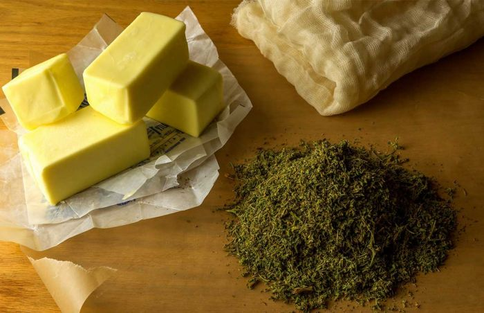 pile of butter, and chopped cannabis
