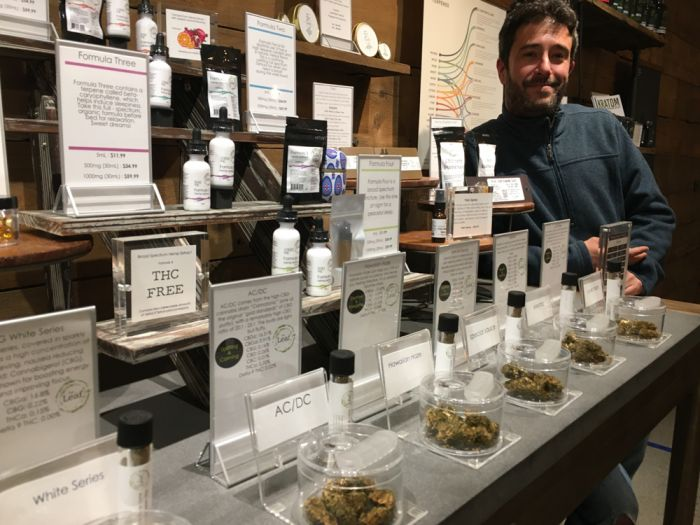 Man with marijuana display in store