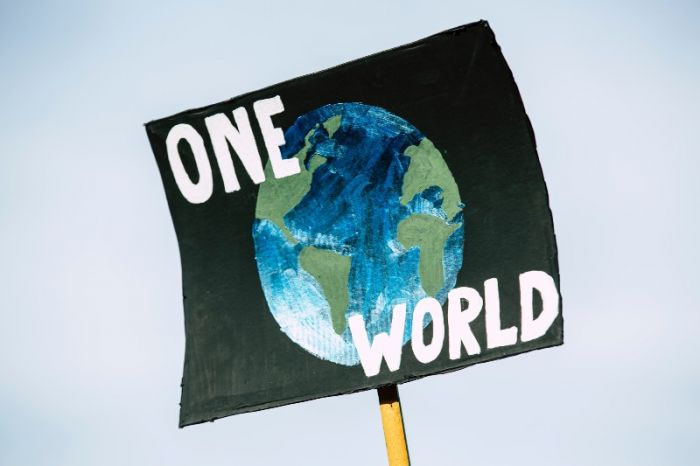 """poster at protest that reads """"one world"""" with an image of the earth"""