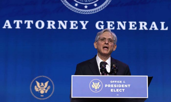 Merrick Garland at a podium