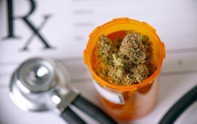 Bottle of cannabis with medical prescription