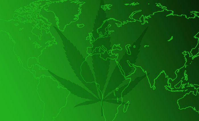 world map with weed marijuana leaf