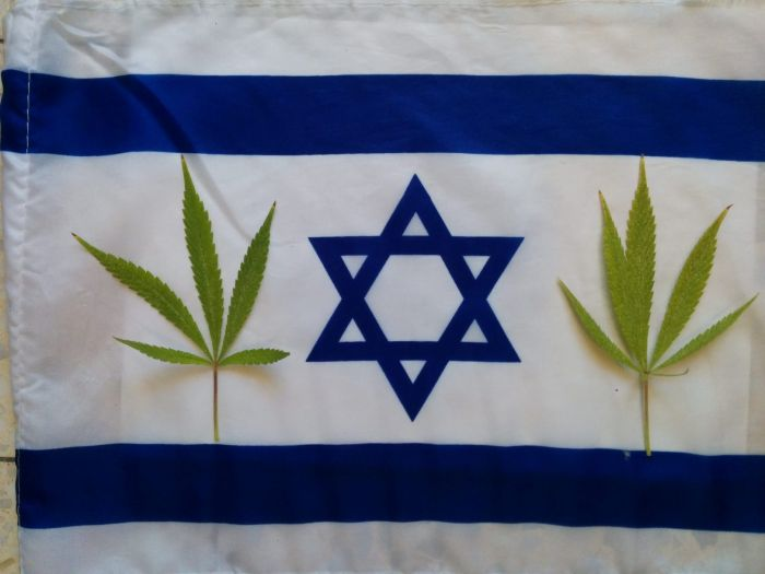 Flag of Israel with some marijuana leaves