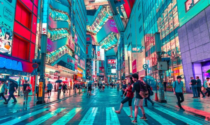 multicoloured image of a street