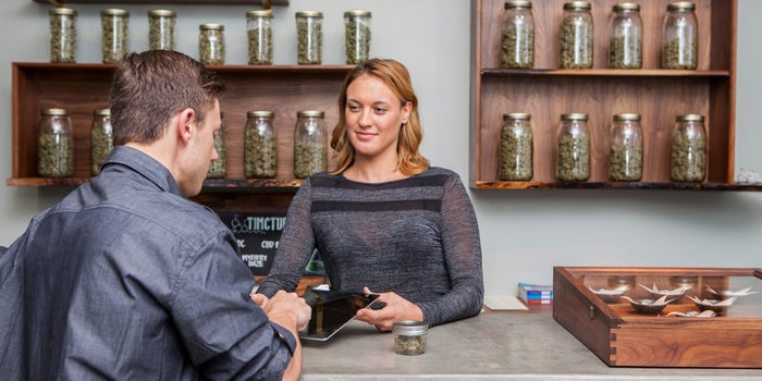 people at a cannabis dispensary