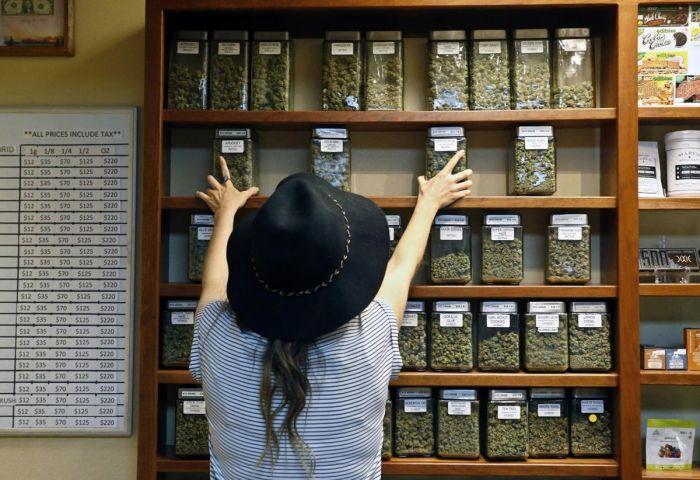 woman stacking shelves of cannabis filled jars