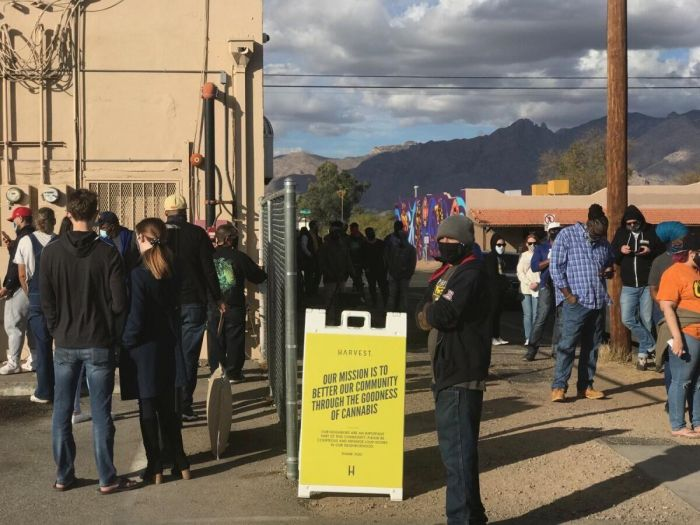 crowd gathering outside dispensary