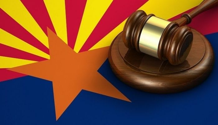 arizona flag with a legal gavel on it