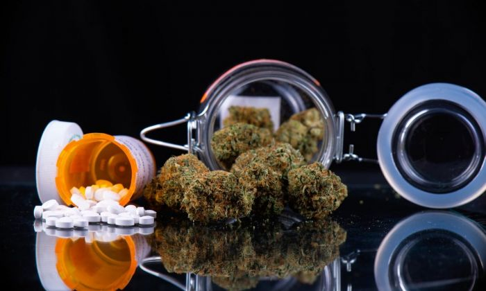 medical pills and cannabis spilled out over the table
