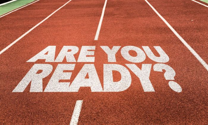 are you ready painted on a track and field course