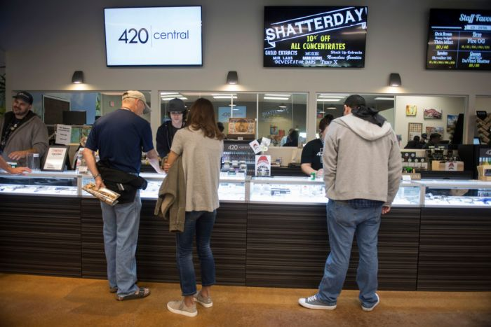 people shopping at dispensary