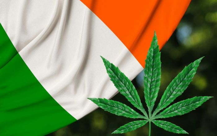 flag of ireland against a marijuana leaf