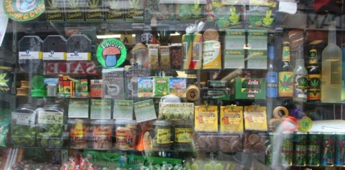 An Amsterdam storefront shows the type of creative and colourful cannabis packaging