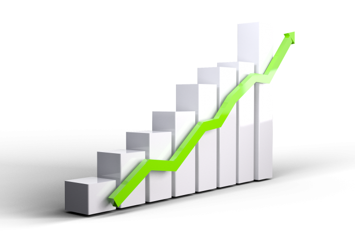 stock chart showing growth