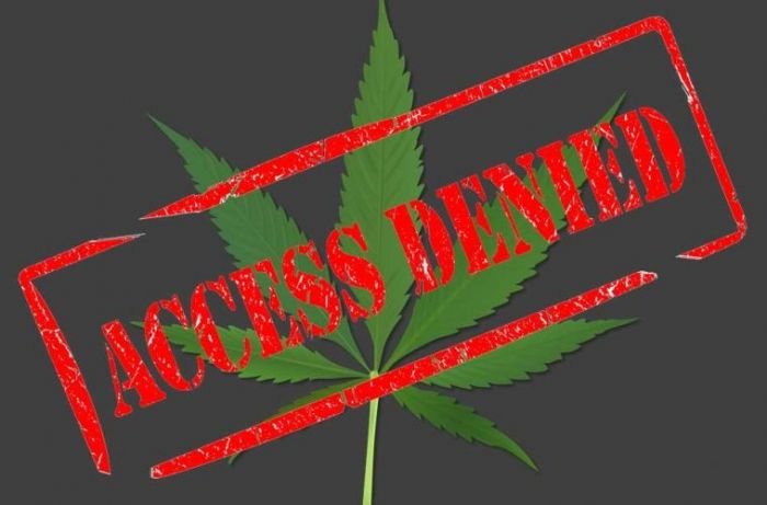 The words Access Denied written over a marijuana leaf