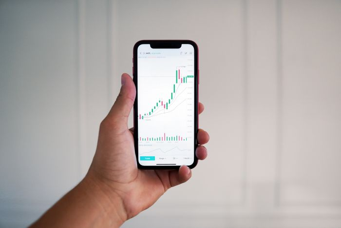 stock charts on a mobile phone