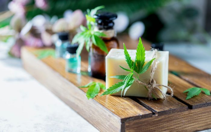 a board of cannabis bars and beauty goods
