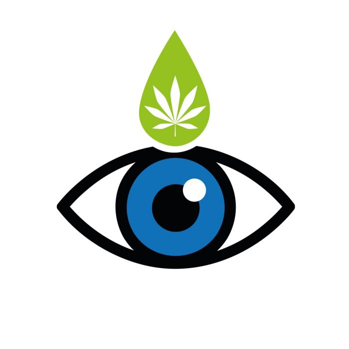 image of an eye, with a cannabis drop above it