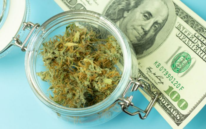 jar of cannabis with money beside it