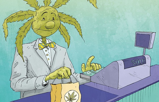 cartoon drawing of man with marijuana lead as head, cashing out at a cannabis dispensary